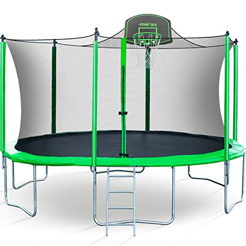 Merax-14-FT-Round-Trampoline-with-Safety-Enclosure-Basketball-Hoop-and-Ladder-Upgraded-with-PVC-Pad-Ball-Stop-Net