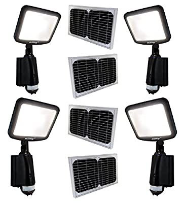 4 Pack Solar Powered Microgrid Brightest CREE LED High Performance Pure Digital SMART On or Motion Activated Outdoor Indoor, Security Safety, CCTV illuminating, Street, Parking, Bike-Path, Garden, Play Ground Flood Spot lights or Multiple Grouping Buildin