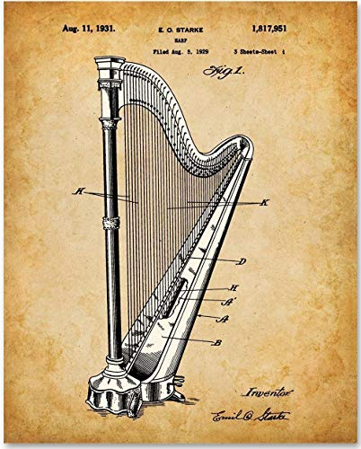 (Harp - 11x14 Unframed Patent Print - Makes a Great Gift Under $15 for)