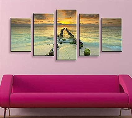 Amazon.com: Sweety Decor Modern Giclee Sunrise Artwork Beach ...