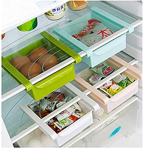 SELUXU Plastic Kitchen Refrigerator Fridge Storage Rack Freezer Shelf Holder Kitchen Space Saver Organization