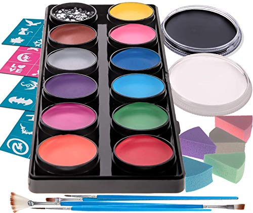 Blue Squid Face Paint Kit | Professional Best Quality Painting for Kids & Adults | Water Based Set Non-Toxic FDA Approved | +Online Guide (12 Color + Bonus Pack) -