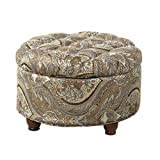 Big Round Tufted Ottoman HomePop Button Tufted Round Storage Ottoman, Brown and Teal Paisley