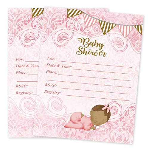 (Pink Princess Baby Shower Girl Invitations 20 Count With Envelopes)