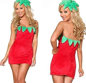 Neueste nette Damen Obst Kostüm Velvet Strawberry Kleid Fantasie ...