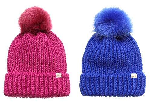 MIRMARU Women's Winter Solid Ribbed Knitted Beanie Hat with Faux Fur Pom Pom (1 Berry & 1 Cobalt) (Berry 1)