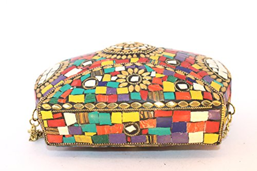Handmade De Metal S Mujer Bunt Multicolor Mano Mehrfarbig Cartera Para qqrSpacOF