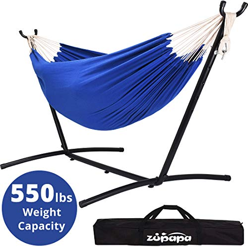 Zupapa Double Hammock with Stand, Accommodates 2 People, 550 Pound Capacity Portable Perfect for Garden, Deck, Yard - Carrying Case Included (Royal Blue)