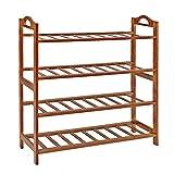 Fibevon Bamboo Shoe Rack 4-Tier Entryway Shoe Shelf Storage Organizer ...