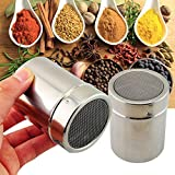 Stainless Steel Powder Dredges with Lid - Metal Fine Mesh Shaker/Sifter/Sprinkler for Cocoa Chocolate Sugar Pepper Paprika Coffee