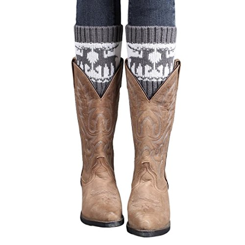 Oksale Women Christmas Elk Deer Crochet Knitted Boot Cover Cuffs Leg Warmers ()