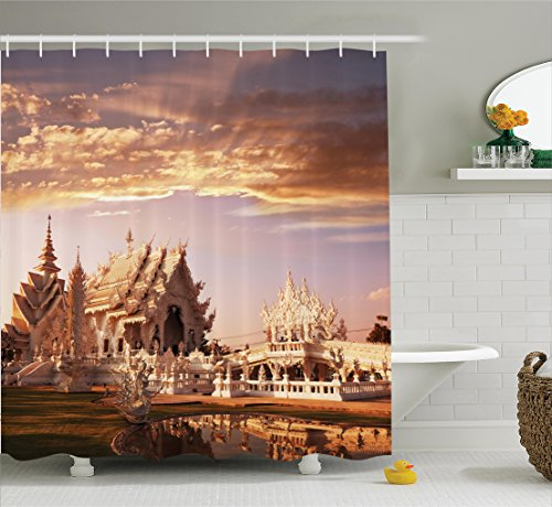 Chinese Garden Temple - Ambesonne Home Decor Collection, Ancient Chinese Temple with Fairy Sky and Garden in Noth Asian Traditional Architecture , Polyester Fabric Bathroom Shower Curtain, 84 Inches Extra Long, Multi