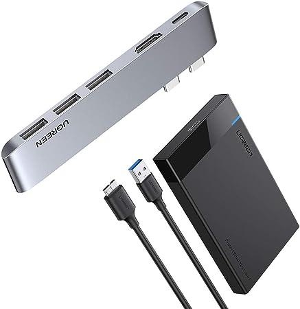 UGREEN USB C Hard Drive Enclosure for 2.5 SATA SSD HDD Samsung WD Hitachi Toshiba Aluminum USB C to SATA Adapter USB 3.1 Gen 2 Support UASP SATA III Compatible with MacBook Pro//Air Seagate