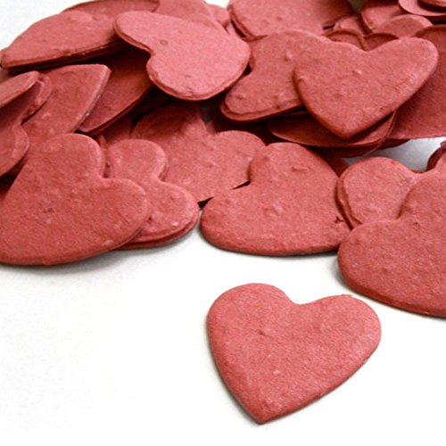 (Heart Shaped Plantable Seed Confetti (Brick Red) - 350 pieces/bag)