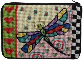 Cosmetic Purse - Dragonfly - Needlepoint (Dragonfly Needlepoint Kit)