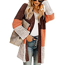 Women's Color Block Loose Baggy  Knit Cardigan Sweater