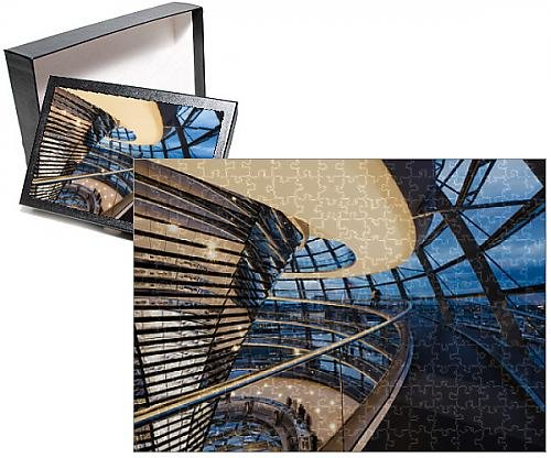 Photo Jigsaw Puzzle of Wide angle interior view of The Dome of the Reichstag building at - Berlin Dome Reichstag