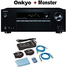 Onkyo Surround Sound Audio & Video Component Receiver black (TX-SR383) + Monster Home Theater Accessory Bundle
