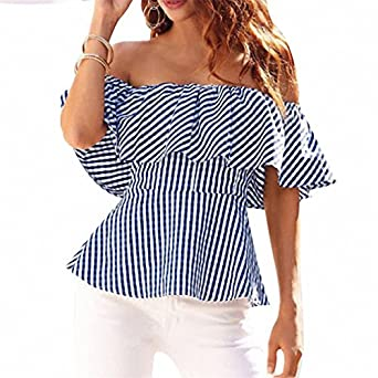 Off Shoulder Sexy Women Tops Ruffles Waist Blouse Shirt Womens Summer Short Sleeve Femme blusa Shirts