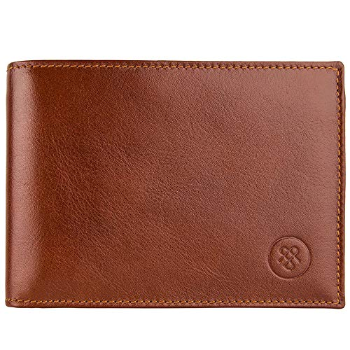 - Maxwell Scott Leather Trifold Credit Card Wallet - Gallucio Tan