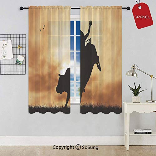 Bull Rider Silhouette at Sunset Dramatic Sky Rural Countryside Landscape Rodeo Decorative Window Curtain Sheer Voile Panels,for Kids Room,Kitchen,Living Room & Bedroom,2 Panels,Each 32x36 Inch,Amber