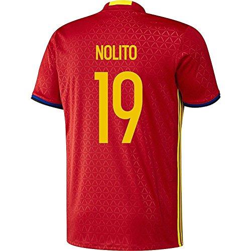 タオル興奮する中性Adidas Nolito #19 Spain Home Jersey UEFA EURO 2016 (Authentic name & number) /サッカーユニフォーム スペイン ホーム用 ノリート