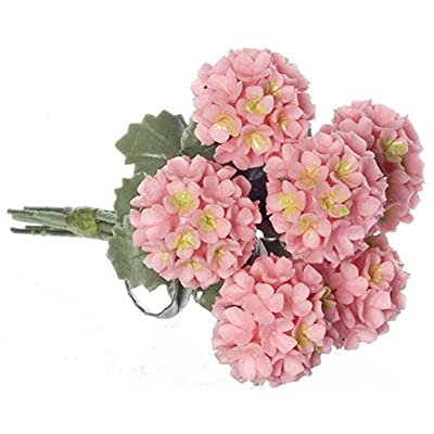 Falcon Miniatures Dollhouse Miniature Set of 6 Pink Hydrangeas: Toys & Games