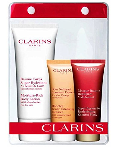 Clarins Gift & Travel Pouch - Super Restorative Replenishing Comfort Mask, Moisture Rich Body Lotion, One Step Exfoliating Cleanser & Pouch