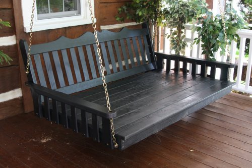 Outdoor 5' Royal English Garden Swing Bed - Oversized Porch Swing - PAINTED- Amish Made USA -White