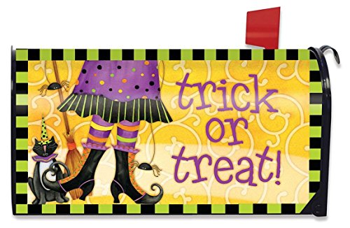 Briarwood Lane Trick or Treat Witch Halloween Mailbox Cover Black Cat Standard]()