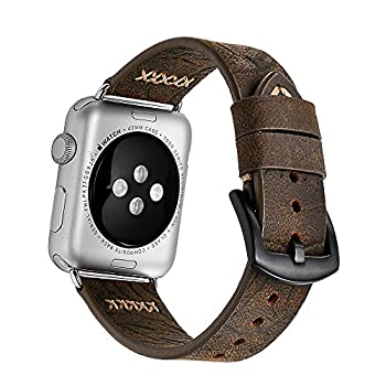 Apple Watch Band 42mm iWatch Band, ERWUBALA Genuine Cowhide Leather Apple Strap, Premium Vintage Replacement Watchband Classical Durable with Steel Clasp Buckle Fits for All Apple watch Model Series