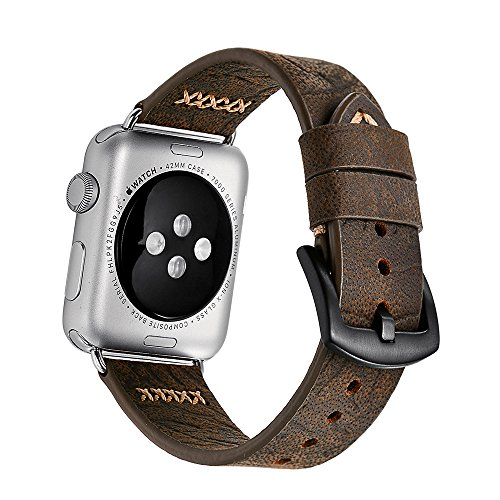 Price comparison product image Apple Watch Band 42mm iWatch Band , Genuine Cowhide Leather Apple Strap, Premium Vintage Replacement Watchband Classical Durable with Steel Clasp Buckle Fits for All Apple watch Model Series