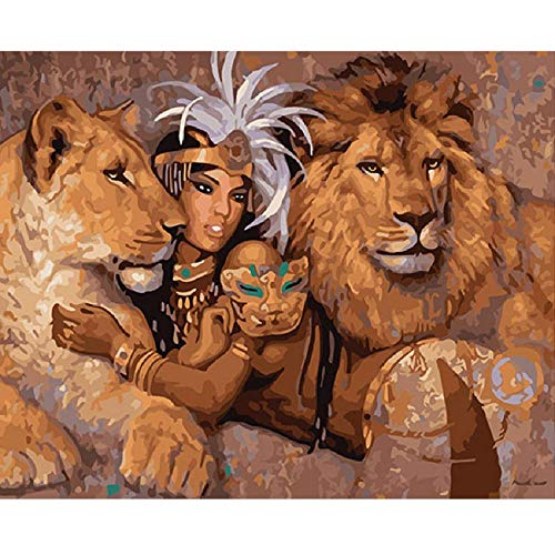 Wooden Adult Puzzle 1000 Pieces Lion and Sexy Naked Woman Letter Logo On The Back, Wooden Partition Grid, for Better Puzzles