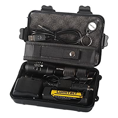8000lm Genuine Lumitact G700 Shadowhawk X800 Tactical Flashlight Military Grade Torch + battery Wall Charger, AAA Adapter and Black Case