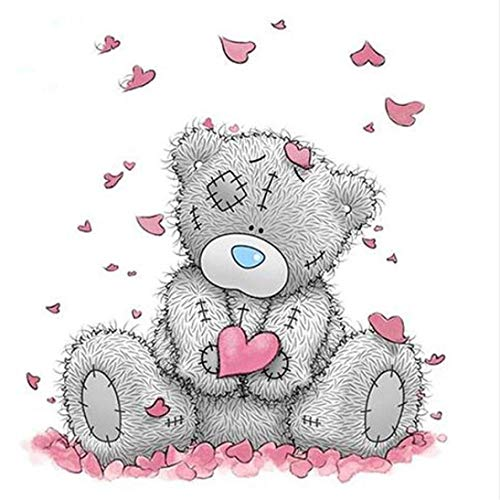 (5D DIY Diamond Painting Full Round Drill Teddy Bear Rhinestone Embroidery for Wall Decoration 8x10 Inch)