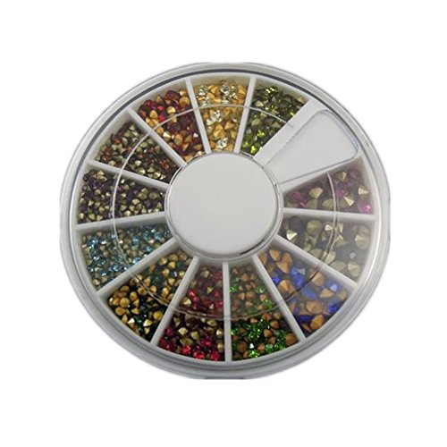 JulieWang 1 box 1.5-3.5mm Assorted Colors Rhinestones Crystals Jewelry Findings 32077