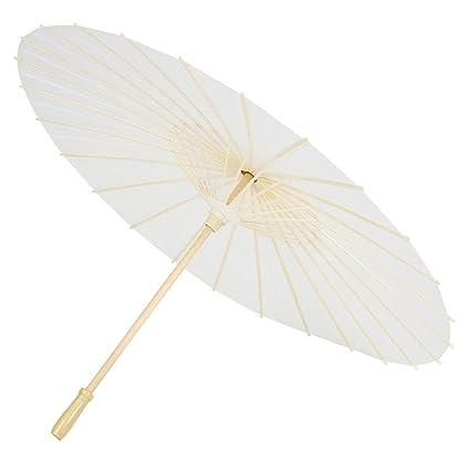 3ba63d97b18b Amazon.com: Paper Umbrella, Decorative White Paper DIY Parasol for ...