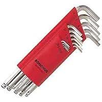 Bondhus 17095 Set of 15 Balldriver L-wrenches w/BriteGuard,sizes 1.27-10mm, multi, one size