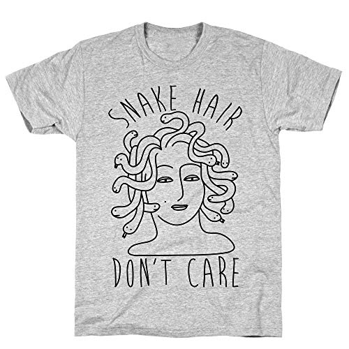 LookHUMAN Snake Hair Don't Care Medium Athletic Gray Men's Cotton Tee -
