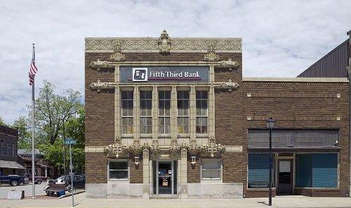 Photo  Historic Fifth Third Bank Building Main Street Poseyville Indiana