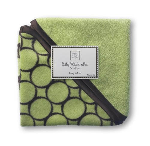 (SwaddleDesigns Cotton Terry Velour Baby Washcloths, Set of 2, Brown Mod Circles on Lime)