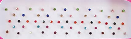 Amazon Com 60 Colorful 2mm Crystals Eye Bindi Sticker Pack