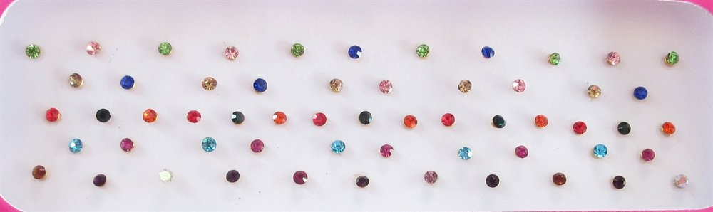 60 Colorful 2mm Crystals Eye Bindi Sticker Pack/ Bindis/ Self Adhesive/ Fake Nose Stud/ Stick On Studs ultimate fab stuff
