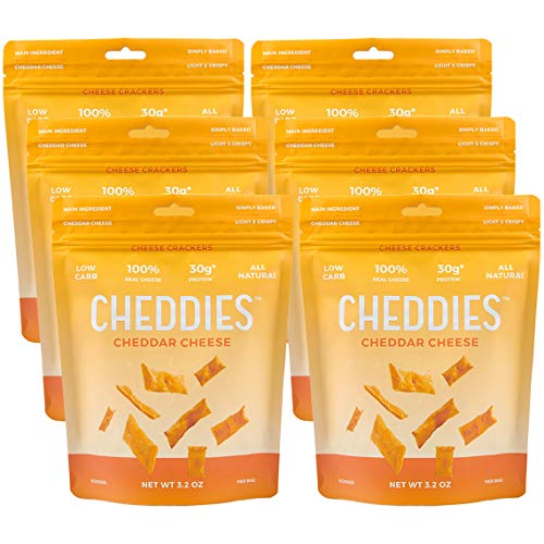 Cheddies Cheddar Crackers, NEW ITEM, High Protein, All Natural, Low Sugar, Healthy Snack (Pack of 6)