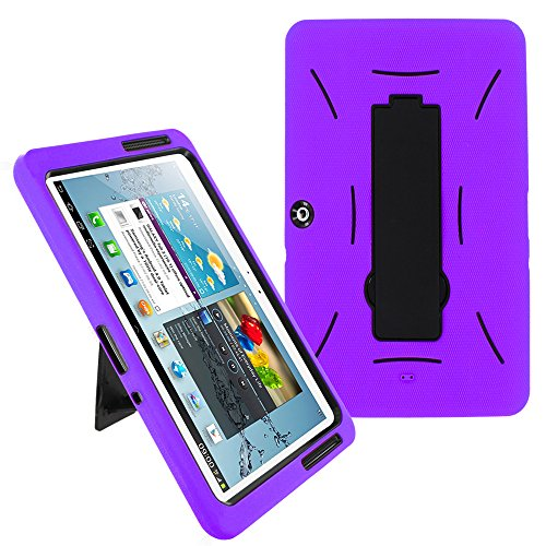 Galaxy Tab 2 10.1 Case KIQ (TM) Heavy Duty Hybrid Silicone Skin Hard Plastic Case Cover w/Kick Stand for Samsung Galaxy Tab 2 10.1 P5100 (Black/Purple)