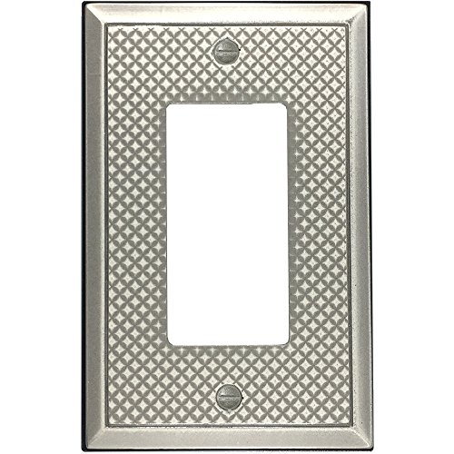 Questech Pyramid Decorative Metal Composite Switch Plate/Wall Plate/Outlet Cover (Single Decorator, Brushed Nickel Polish) - Ceramic Outlet