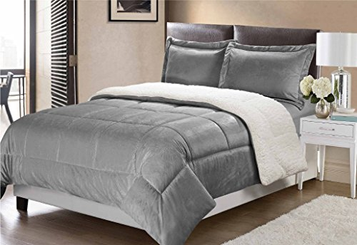 Swift Home Collection Ultra-Plush Reversible Micromink and Sherpa 3-Piece Down Alternative Comforter with Pillow Shams, Luxury Bedding Set, Hypoallergenic, Pewter, Queen (Set Luxury Reversible Comforter)