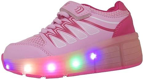 WINNEG Zapatos LED Niños Niñas 5 Color USB Carga LED Zapatillas Luces Luminosos Zapatillas LED Deportivos para Hombres Mujeres (34 EU, Rosa): Amazon.es: Zapatos y complementos