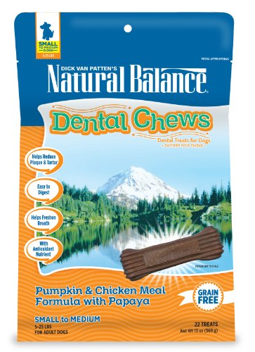 - Natural Balance Dental Chews Dog Treats, Pumpkin & Chicken Meal Formula with Papaya, Grain Free, For Small Dogs, 13-Ounce