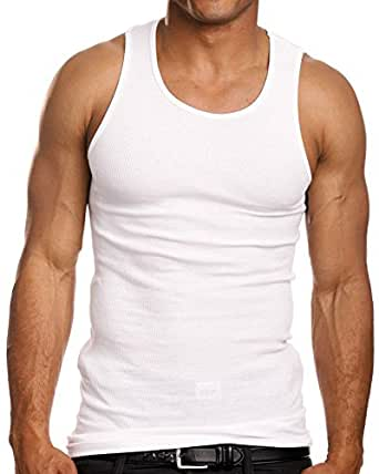 ToBeInStyle Men's 3 Pack A-Shirt Tank Top - White - S